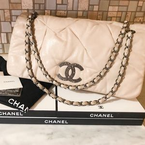 Auth. Chanel Iridescent Beige CC Leather Flap Bag